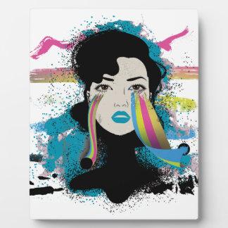 Wellcodaの虹は女性Colour Faceを引き裂きます フォトプラーク