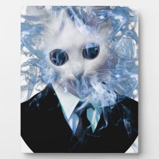 Wellcoda猫のスーツの煙の風変わりな動物ペット フォトプラーク