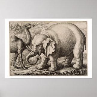 Wenceslaus著刻まれる象およびラクダHo ポスター