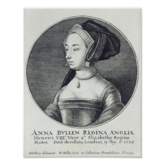 Wenceslaus Hollar著エッチングされるアン・ブーリン1649年 ポスター