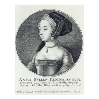 Wenceslaus Hollar著エッチングされるアン・ブーリン1649年 ポストカード