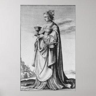 Wenceslaus Hollar著エッチングされるSt.バーバラ1647年 ポスター
