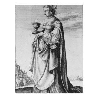 Wenceslaus Hollar著エッチングされるSt.バーバラ1647年 ポストカード