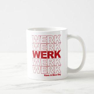 Werkの赤のタイポグラフィ コーヒーマグカップ