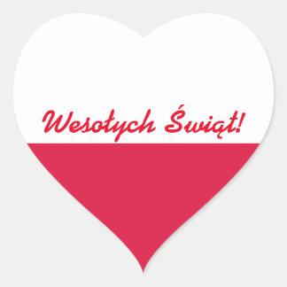 Wesołych Świąt Flaga -ポーランド語のメリークリスマス ハートシール