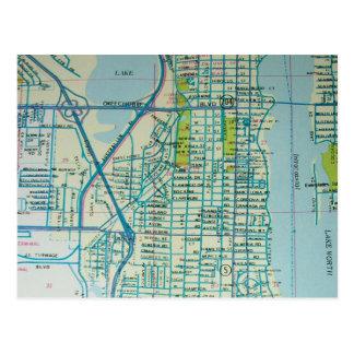 WEST PALM BEACHのFLのヴィンテージの地図の郵便はがき ポストカード