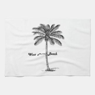 West Palm Beach及びやし白黒デザイン キッチンタオル