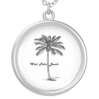 West Palm Beach及びやし白黒デザイン シルバープレートネックレス