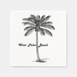West Palm Beach及びやし白黒デザイン スタンダードカクテルナプキン