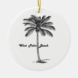West Palm Beach及びやし白黒デザイン セラミックオーナメント