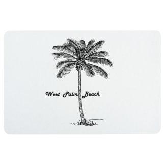 West Palm Beach及びやし白黒デザイン フロアマット