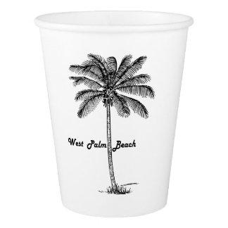 West Palm Beach及びやし白黒デザイン 紙コップ