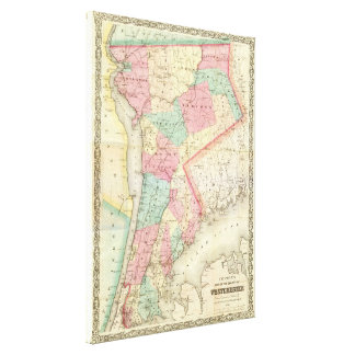 Westchesterニューヨーク(1864年)のヴィンテージの地図 キャンバスプリント