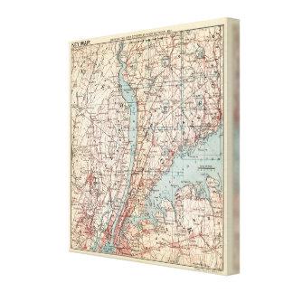 Westchester County、ニューヨークの地図 キャンバスプリント