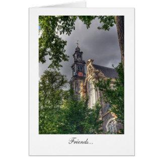 Westerkerkのアムステルダム教会-友人 カード