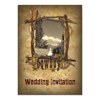 western country cowboy wedding  photo invitation カード