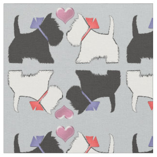 Westieおよびスコッチテリア犬の芸術の生地 ファブリック