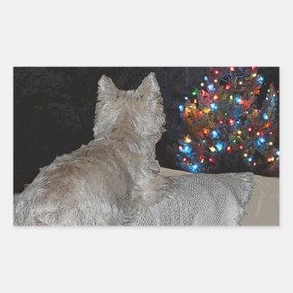 WESTIEのクリスマスの畏怖 長方形シール