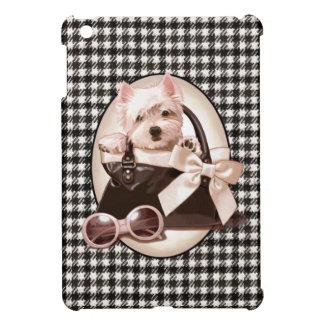 Westieの千鳥格子のな子犬 iPad Miniケース