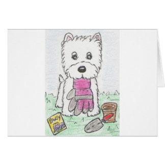 WESTIEの園芸ピンクの手袋 カード
