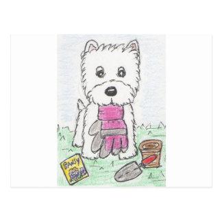 WESTIEの園芸ピンクの手袋 ポストカード