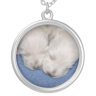 Westieの子犬の睡眠のネックレス シルバープレートネックレス