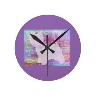 Westieの紫色の単語 ラウンド壁時計