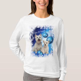 Westieはそれが挨拶休日の雪が降るようにしました Tシャツ