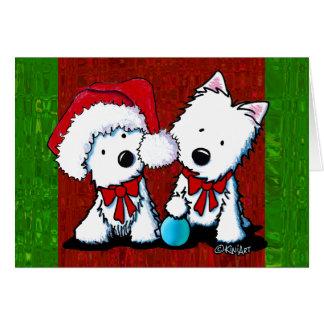 Westieテリアのデュオのクリスマスカード カード
