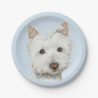 Westie犬のアートペーパーのプレート ペーパープレート
