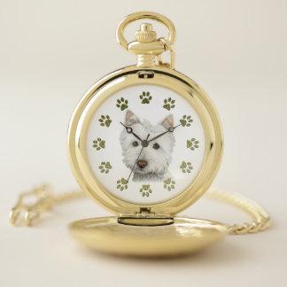 Westie犬の芸術および足の金ゴールドの壊中時計 ポケットウォッチ