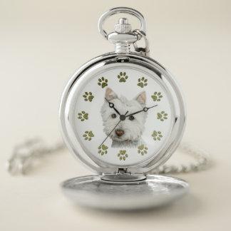 Westie犬の芸術および足の銀製の壊中時計 ポケットウォッチ