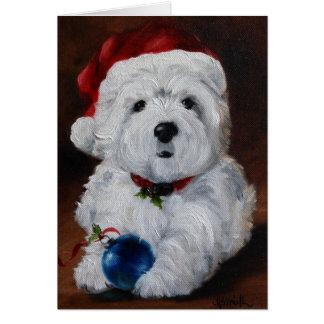 Westie西の高地テリアのメリークリスマスカード カード