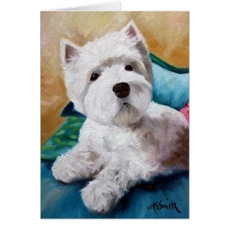 Westie西の高地テリア犬の子犬の芸術 カード