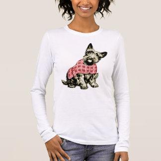 westie西の高地テリア犬のTシャツ 長袖Tシャツ