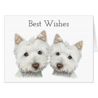 Westie 2匹のかわいい犬の芸術の大きい挨拶状 カード