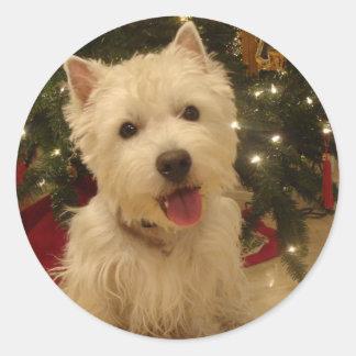 Westie Bestieのクリスマスのマグ ラウンドシール