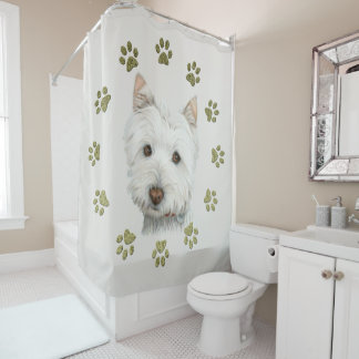 Westie Dog Art and Paws Shower Curtain シャワーカーテン