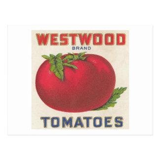Westwoodのトマトのヴィンテージのラベル ポストカード