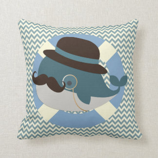 Whale Decor Print Pillow KRWの氏 クッション