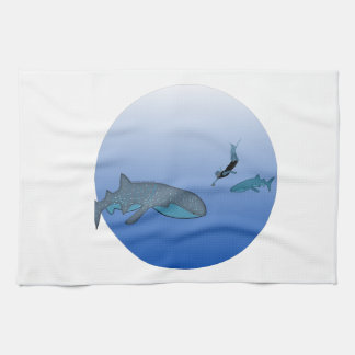 Whalesharksおよび自由なダイバー キッチンタオル
