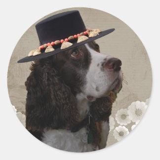 Wheatenテリア + 帽子 ラウンドシール