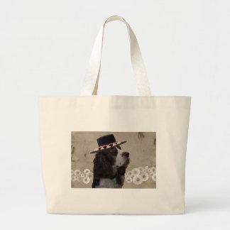 Wheatenテリア + 帽子 ラージトートバッグ