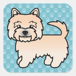 Wheatenノリッジテリアの漫画犬 スクエアシール