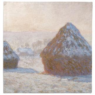 Wheatstacksの雪の効果、朝 ナプキンクロス