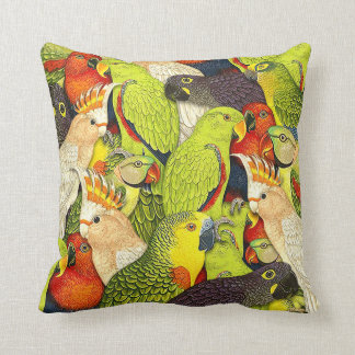 Whimscalの自然の緑は鳥パターンをオウム返しします クッション