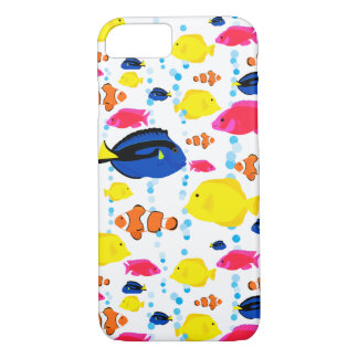 Whimsical and Colorful Tropical Fish and Bubbles iPhone 8/7ケース
