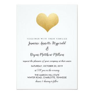 Whimsical Faux Gold Foil Heart | Modern Wedding カード