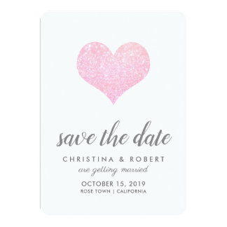 Whimsical Faux Rose Glitter Heart Save The Date カード