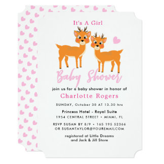 Whimsy Deer Pink Hearts Winter Baby Girl Shower カード